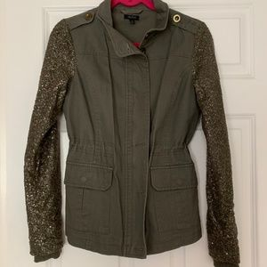 Sequin sleeved green cargo jacket